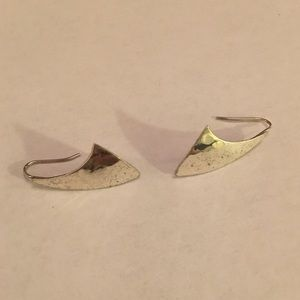 Sterling Hammered Modernist Earrings